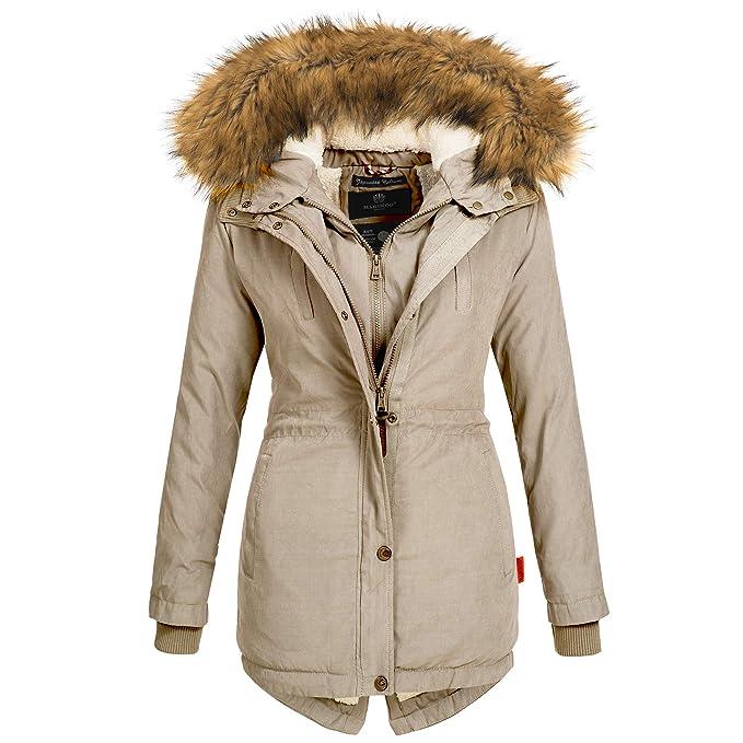 Marikoo Damen Winter Jacke Mantel Winterjacke Parka Wintermantel warm gefüttert Doublezipper Akira97 XS XXL 6 Farben