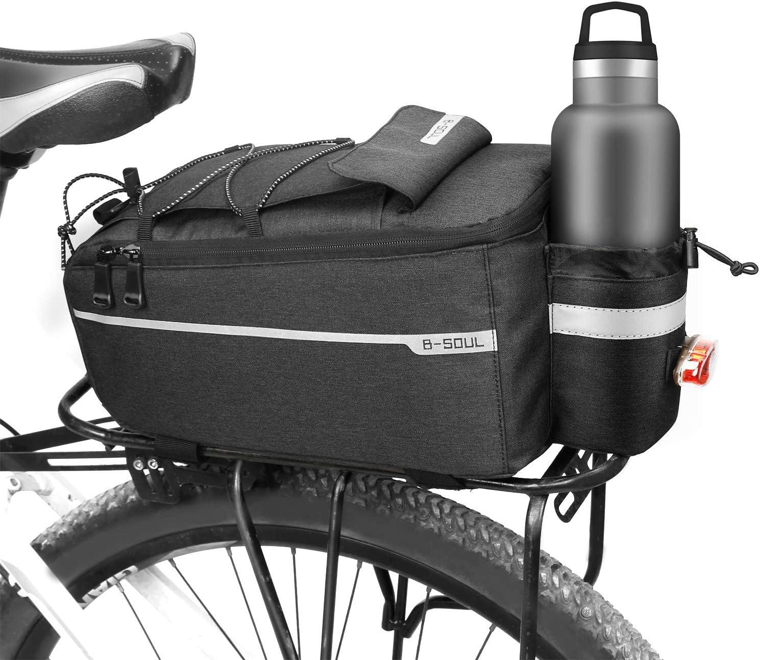 Jhua Bike Bags Rear Rack Bike Trunk Bag Waterproof 10L Bike Luggage Bag Insulated Bicycle Rack Rear Carrier Bag for Back of Bike Rack Reflective MTB Bicycle Commuter Bag Pannier Shoulder Bag, Black