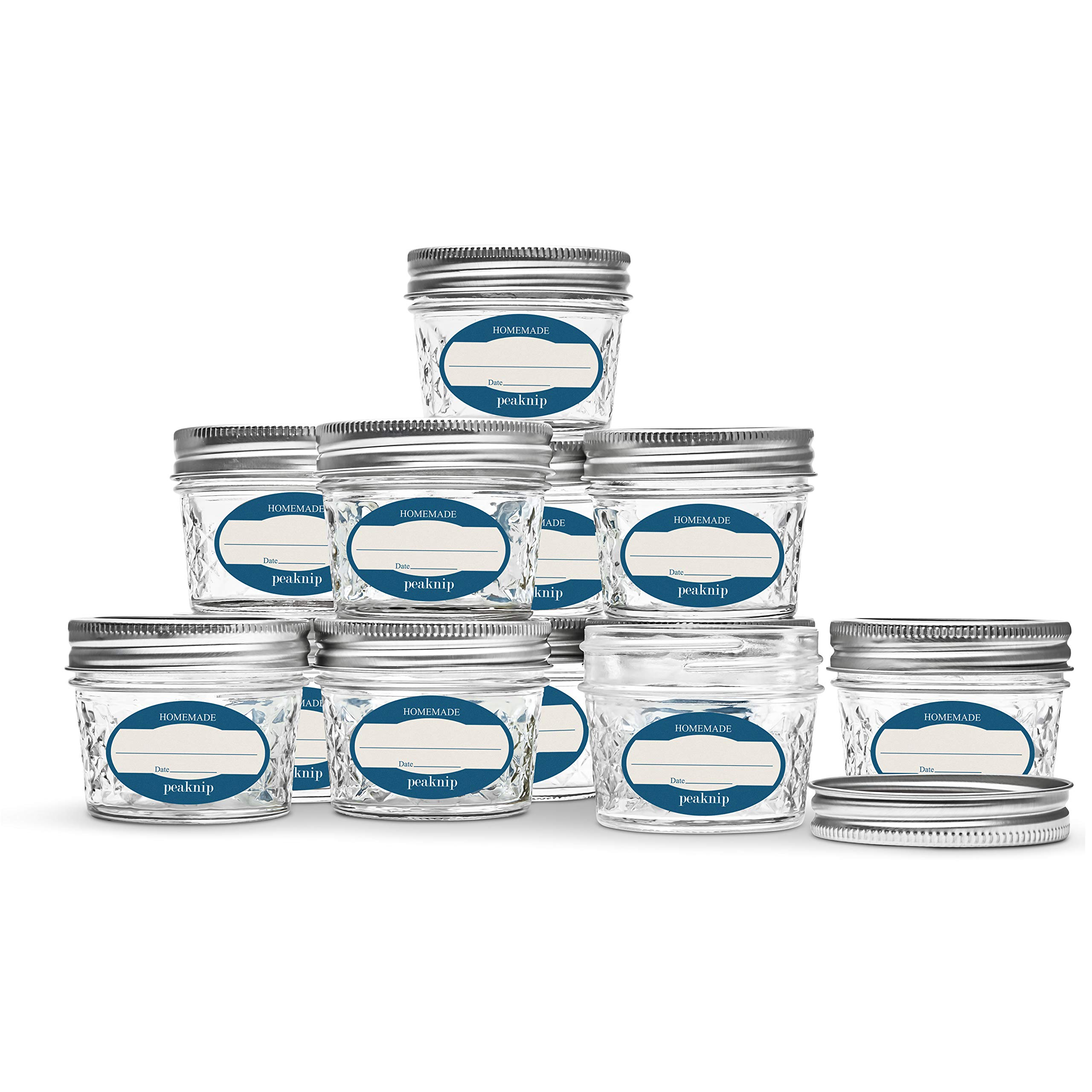 12 Ball Mason Jelly Jars with Lids and Bands, 4 oz, Quilted, and 72 Dissolvable Labels