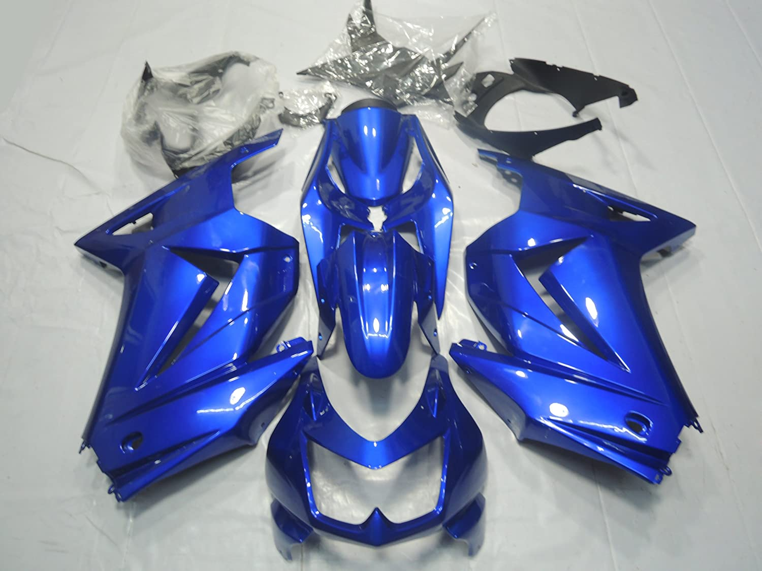 ZXMOTO ABS Motorcycle Bodywork Fairing Kit for Kawasaki Ninja 250R EX250 2008 2009 2010 2011 2012 Blue - (Pieces/kit: 15)