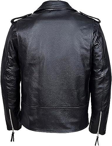 Bongossi-Trade Herren Lederjacke Brando Jacke Motorrad Oldschool Chopper Rindleder schwarz Marke