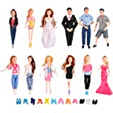 HUGE BUNDLE Complete Set of Handmade Clothes Outfits with Shoes and Accessories for Barbie and Ken Dolls (Set of 12 Clothes + Shoes & Accessories)