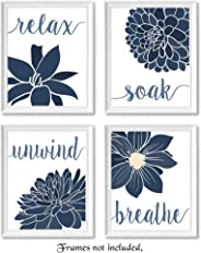 Relax, Soak, Unwind, Breathe Blue & White with Gray Tone Bath Flower Signs Poster Prints, Set of 4 (8x10) Unframed Photos, W
