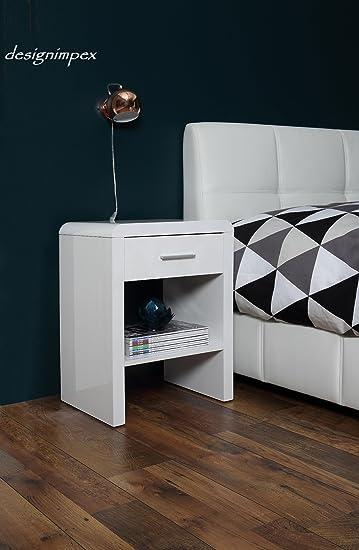 Design Nachttisch Boxspringbett Nachtkommode SN 1 Weiß Hochglanz