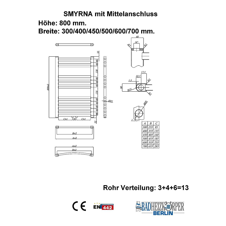 Badheizk/örper SMYRNA Wei/ß 700 x 800 mm Gerade mit Mittelanschluss Handtuchtrockner
