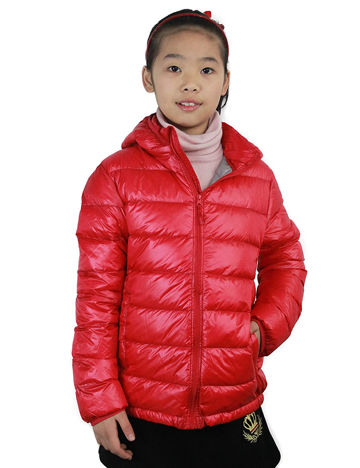 CHERRY CHICK Girl's Ultralight Packable Down Parka Jacket with Detachable Hood 170313ABKID