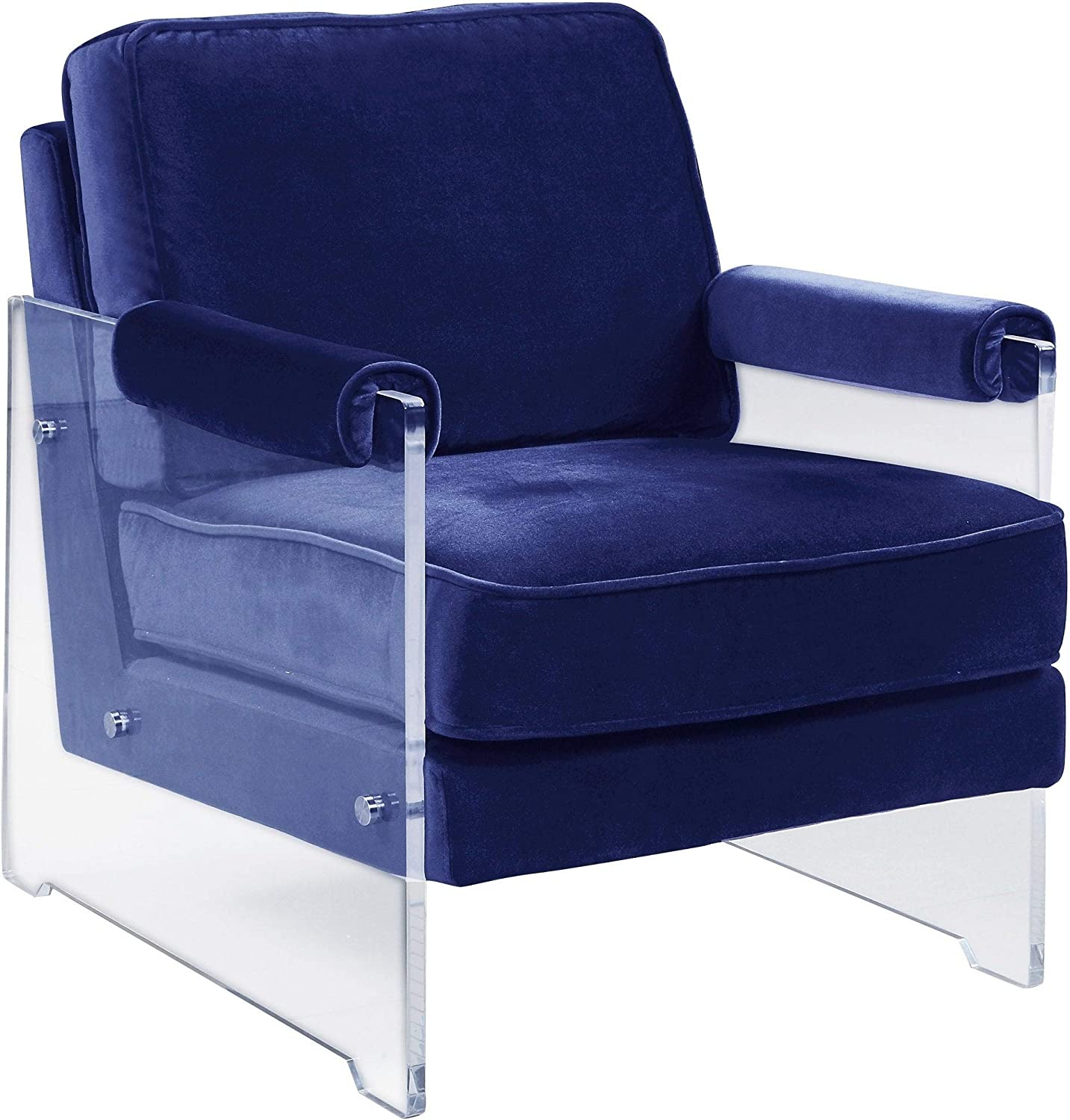 Chic Home Emman Modern Clear Acrylic and Velvet Accent Chair Navy