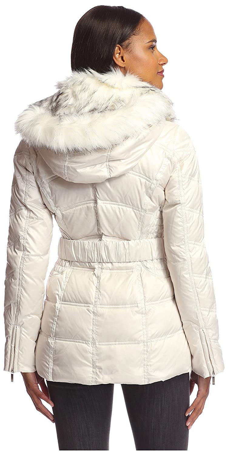 abe37dad8e1c Laundry by Shelli Segal Women s Belted Down Coat with Faux Fur ...
