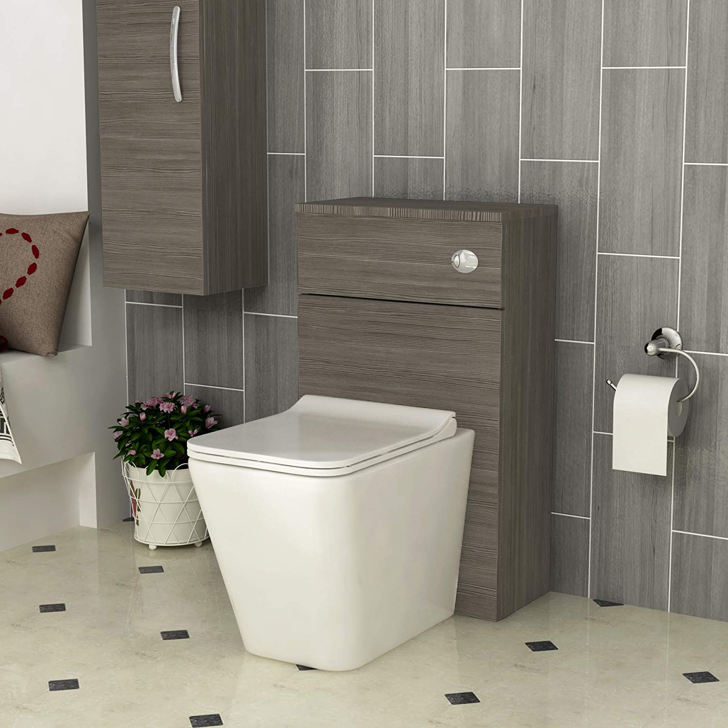 Grey Elm Royal Bathrooms Bathroom Crosby Rimless Short Projection Back to Wall Toilet with WC Unit Furniture Seat /& Cistern