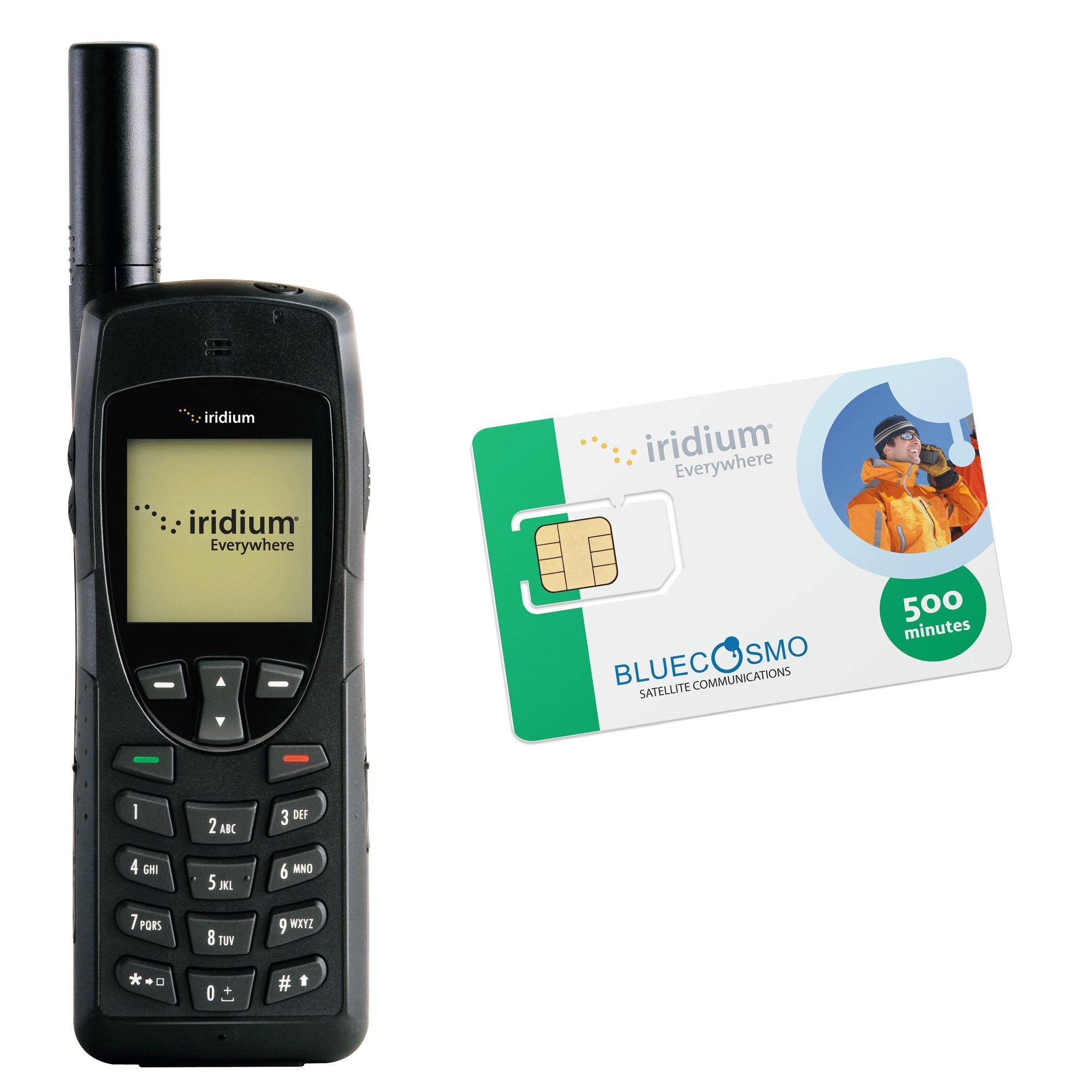 BlueCosmo Iridium 9555 Satellite Phone Kit & 500 Minute 1 Year Global Prepaid SIM