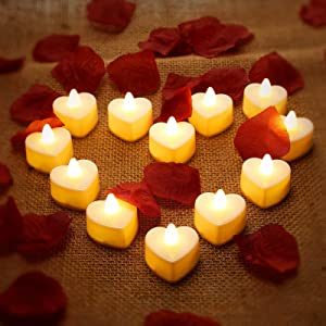 12 Pieces Heart Shape LED Tealight Candles Romantic Love LED Candles with 200 Pieces Silk Rose Petals Girl Scatter Artificial Flower Petals for Valentine's Day Wedding Table Decor Aisle Party Decor