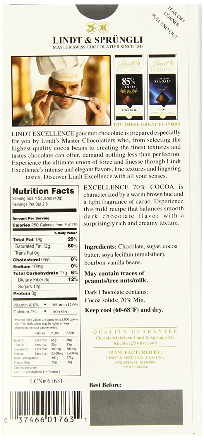Lindt Excellence Bar, Intense Mint Dark Chocolate, 3 5 Ounce (Pack of 12)