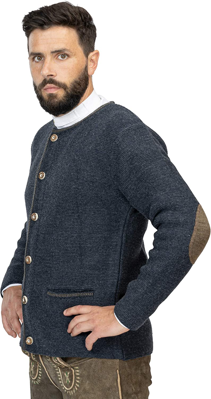 Anton Trachtenjacke aus Wolle Hochwertige Herren Strickjacke Anton Cardigan Jacke in Braun oder Blau