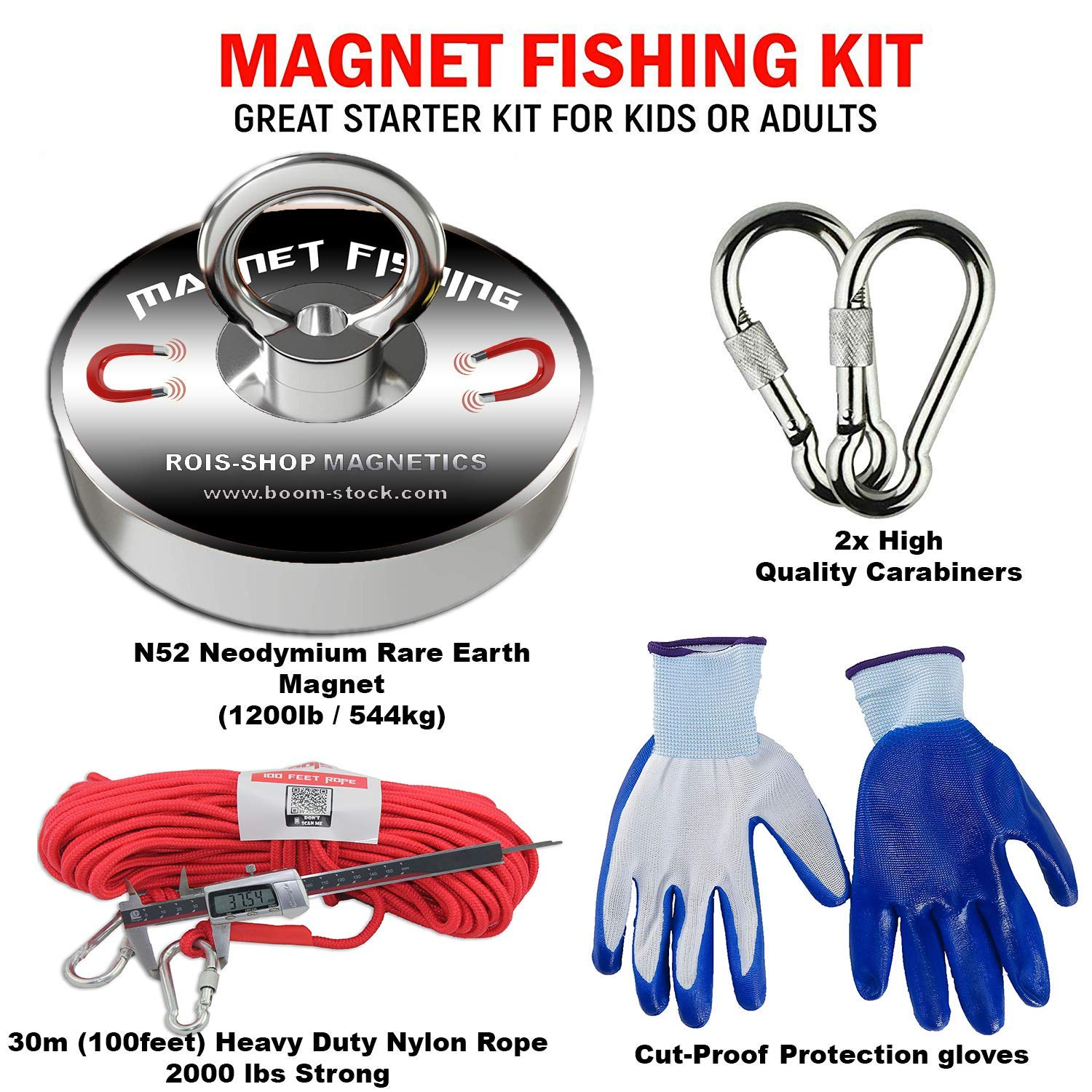 230kg Non-Slip Rubber Gloves /& Super Strong 600lb 600lb Fishing Magnet Bundle Pack Kit Includes 6mm 33ft High Strength Nylon Rope with Carabiner Pulling Force Rare Earth Magnet