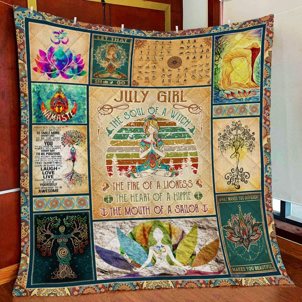 July Girl Yoga Soul Namaste All Season Quilts Blanket Super King Queen Twin Size Best Decorative for Pet Lovers Bedroom Sofa Home Decor Camping