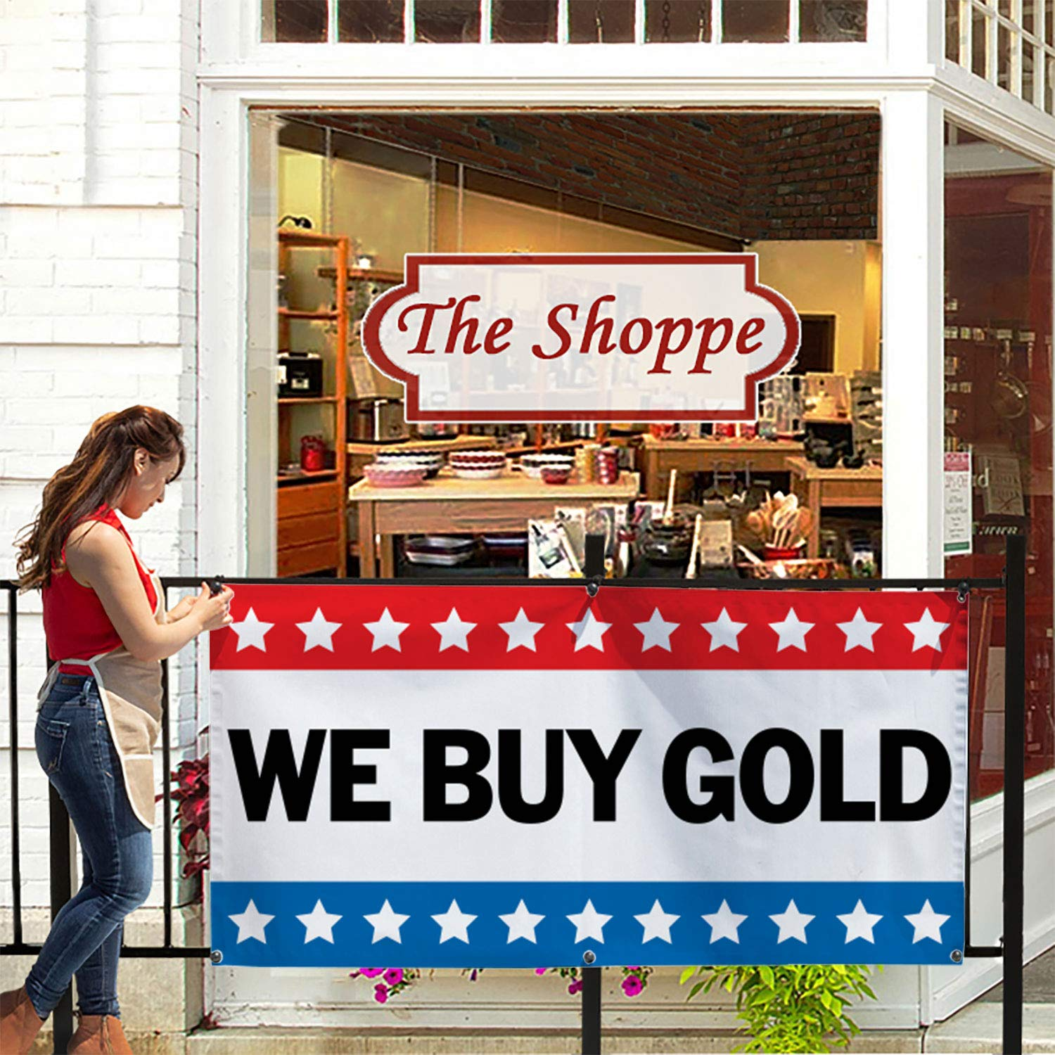 Easy Hang Sign-Made in USA HALF PRICE BANNERS Includes Ball Bungees /& Zip Ties We Buy Gold Vinyl Banner -Heavy Duty Outdoor 4X8 Foot -Yellow
