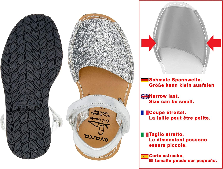 Avarca//MENORQUINAS Kids cuir paillettes espagnol Sandales MADE IN ESPAGNE!!!