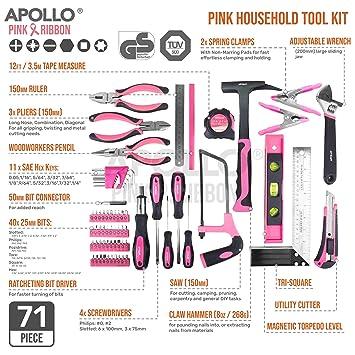 71 en Uno PINK RIBBON FOUNDATION Apollo Kit Malet/ín de Herramientas Esenciales Color Rosa para Bricolaje y Reparaciones con Mago de Destornillador de Trinchete y Juego de Puntas