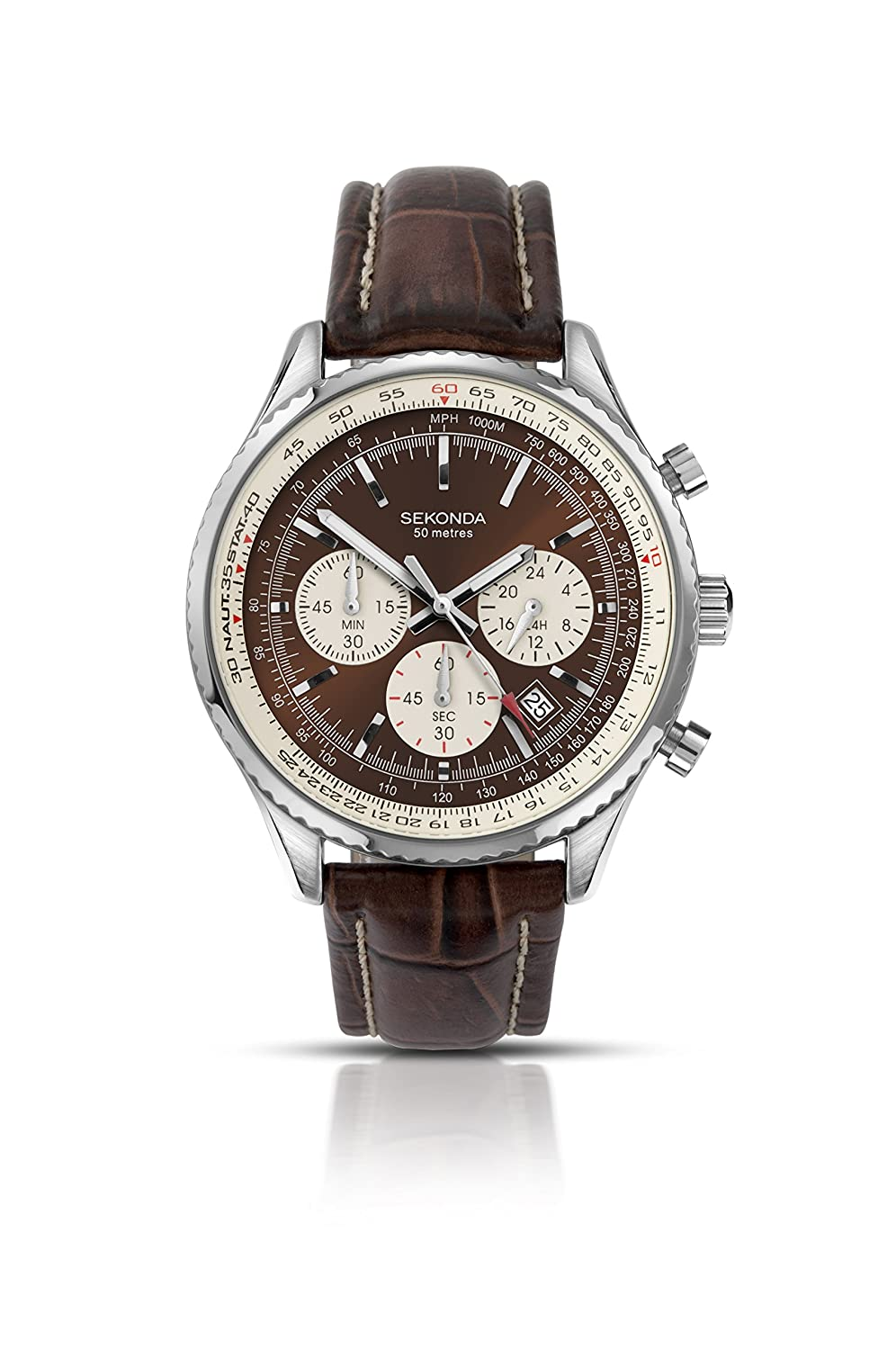 Sekonda Mens Quartz Watch With Brown Dial Chronograph Display And