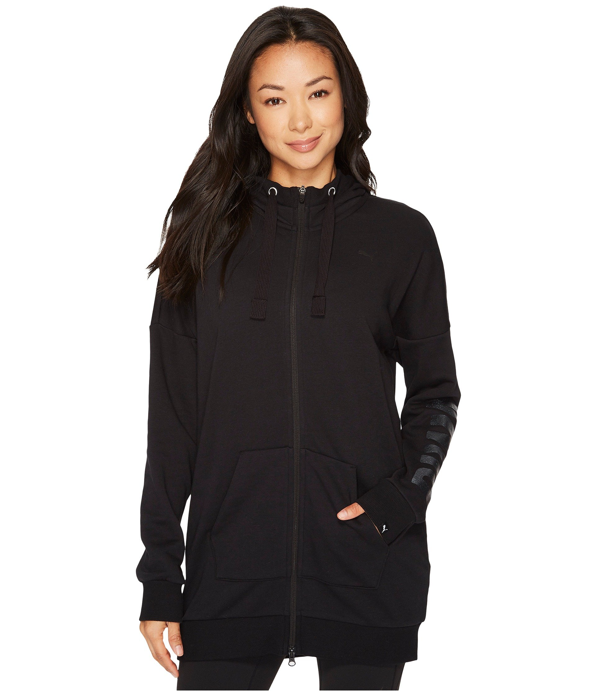 PUMA Women's Fusion Elongated Full Zip Hoodie Cotton Black/Glitter X-Large