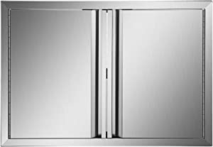 Mophorn BBQ Access Door 31W x 24H Inch, Double BBQ Door Stainless Steel with Recessed Handle, Outdoor Kitchen Doors for BBQ Island, Grill Station, Outside Cabinet