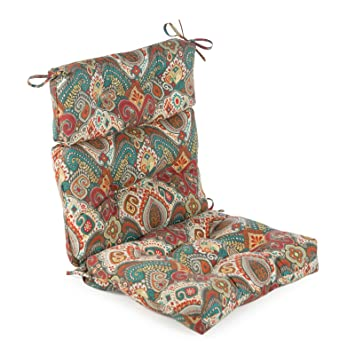 red orange blue fiesta collection outdoor high back patio chair cushion fiesta paisley - High Back Patio Chair Cushions