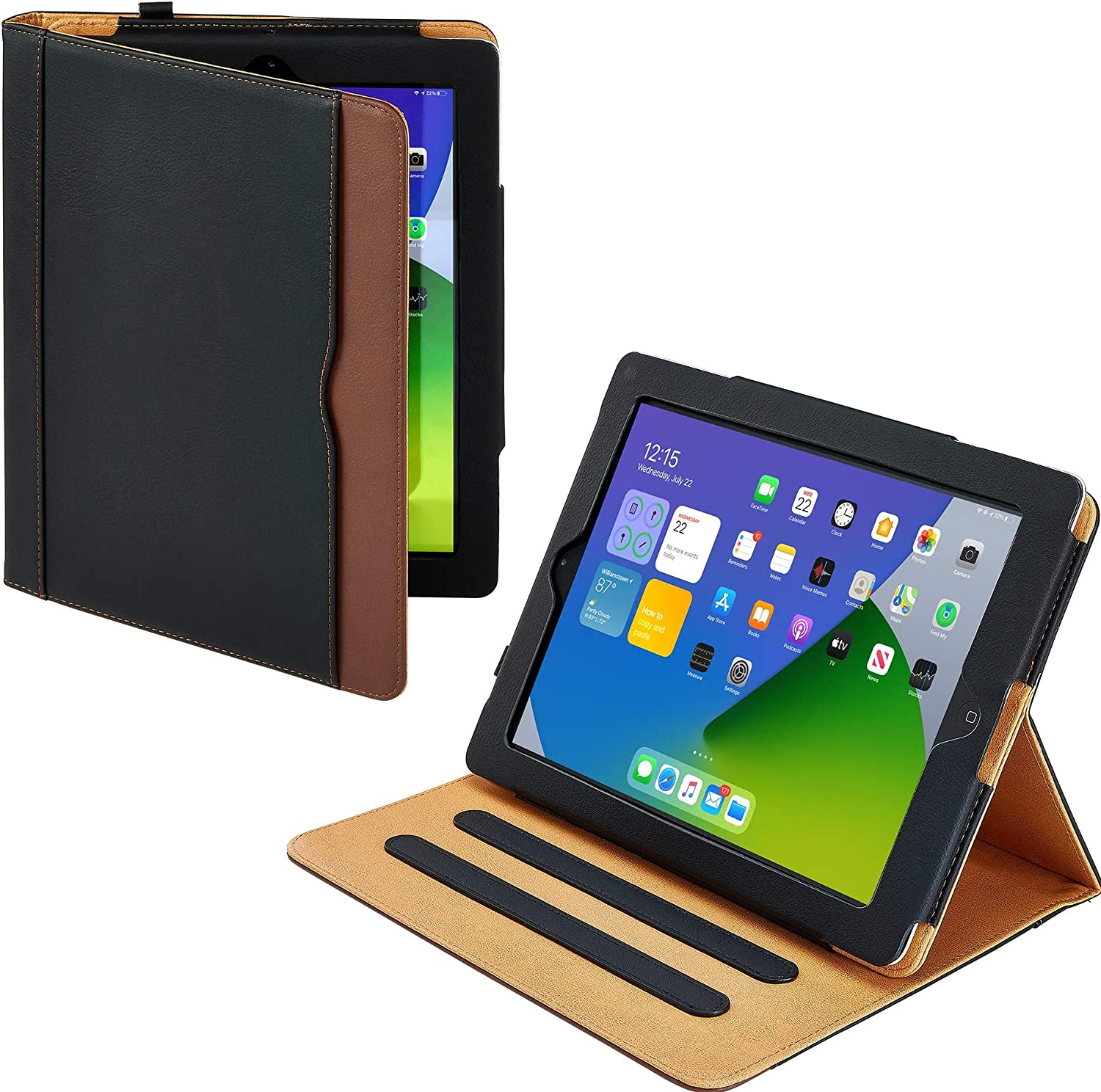 New S-Tech Black and Tan Apple iPad 2 3 4 Generation Soft Leather Wallet Smart Cover with Sleep/Wake Feature Flip Case