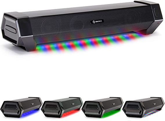 ENHANCE Attack Gaming Speaker Soundbar - Under Monitor PC Sound Bar LED Speaker with 40W Peak Audio Power
