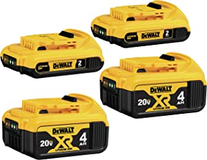 DEWALT 20V MAX Battery, Lithium Ion, 4-Ah & 2-Ah, 4-Pack (DCB3244)