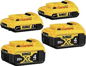 DEWALT 20V MAX Battery, Lithium Ion, 4-Ah & 2-Ah, 4-Pack (DCB3244)