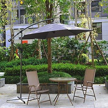 Sonnenschirm Ø 300cm creme schwarz Sonnenschutz Gartenschirm Ampelschirm Schirm