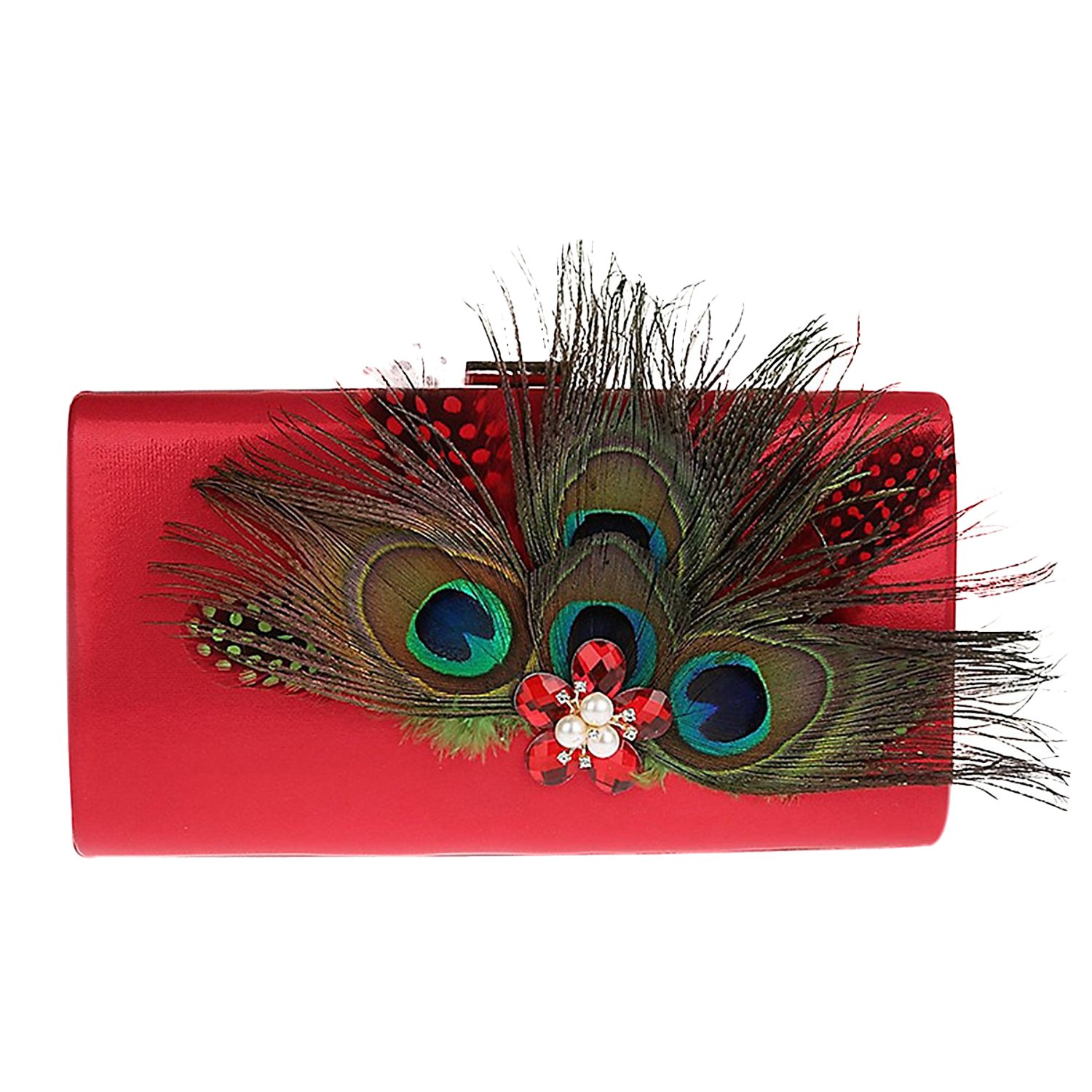 Zakia Satin Peacock Feather Hand Bag Clutch Evening Party Bag with Crystal Pearl Dec (Red)