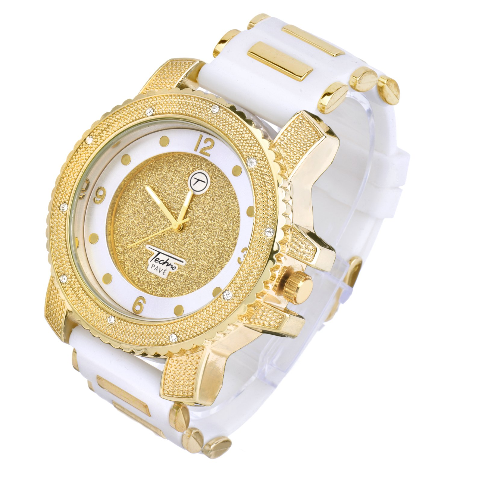 METALTREE98 Men's Fashion Hip Hop Analog Iced Out Heavy White Silicone Band Watch WR 7758 (Gold Toned) by METALTREE98 (Image #2)