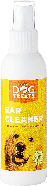 Natural Dog Treats Limpiador de Oidos para Perros, Gotas De Orejas para la Comezón, Ácaros, Dolores de Cabeza y el Mal Olor, 125 ml 4.2 oz