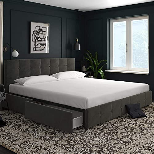 DHP Rose Velvet Tufted Upholstered Platform Bed