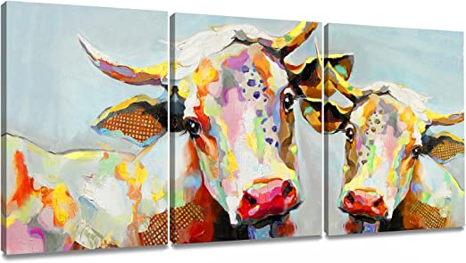 COW RED CANVAS PRINT PICTURE WALL ART HOME DECOR FREE FAST DELIVERY
