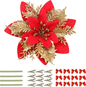 12PCS Christmas Glittery Poinsettia(Red and Gold), Artificial Poinsettia and Bows Christmas Flowers with Clips and Stems for Party Wreath Stairs Window Garland Xmas Tree Fireplace Decor