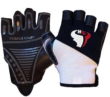 hituk levantamiento de pesas guantes Gel acolchado unisex fitness gimnasio guantes Amara cuero blanco y negro