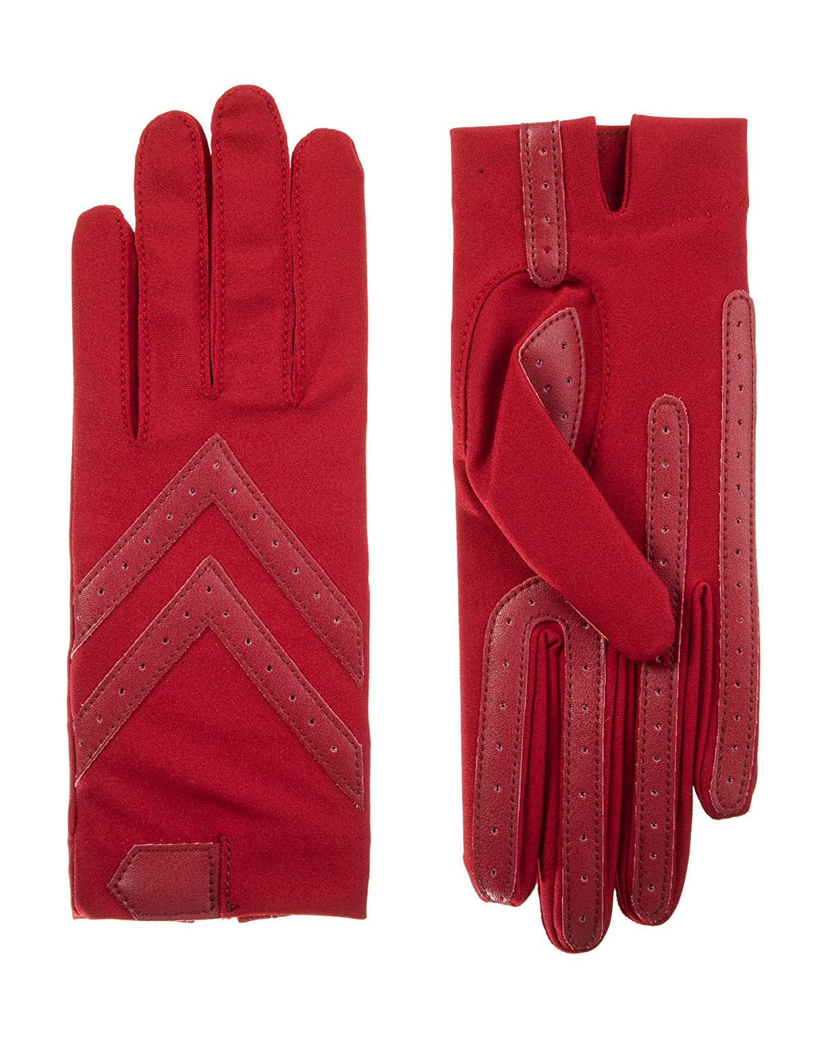 Isotoner Women's Spandex Shortie Gloves with Leather Palm Strips Totes Women's Accessories 56080