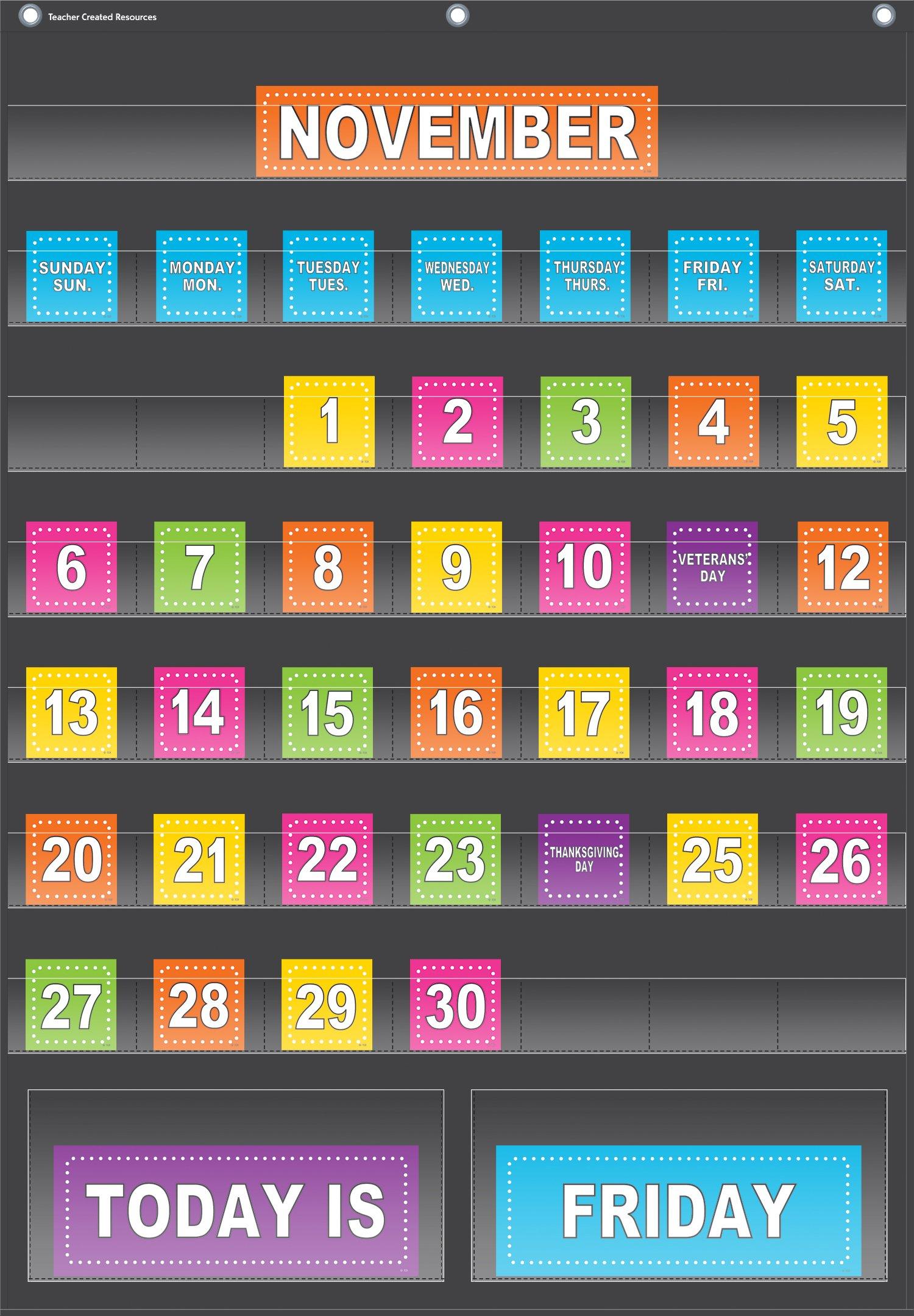 Teacher Created Resources Black Calendar Pocket Chart (20748) by Teacher Created Resources