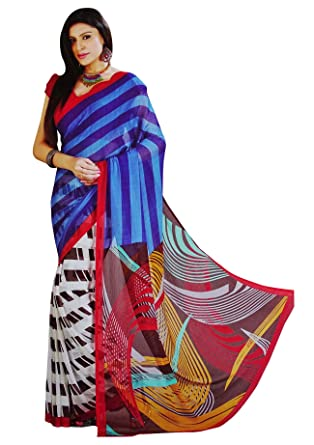 199dd9a805 Indian Saree Printed Georgette Sari Traditional Costume Women Ethnic Wear  Clothing Sarees: Amazon.co.uk: Clothing