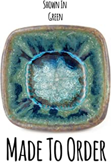 product image for Geode Crackle Candy Dish Made to Order, Candy Dish, Square Dish, Square Bowl, Crackle Glass, Fused Glass, Stoneware Pottery, Dock 6 Pottery