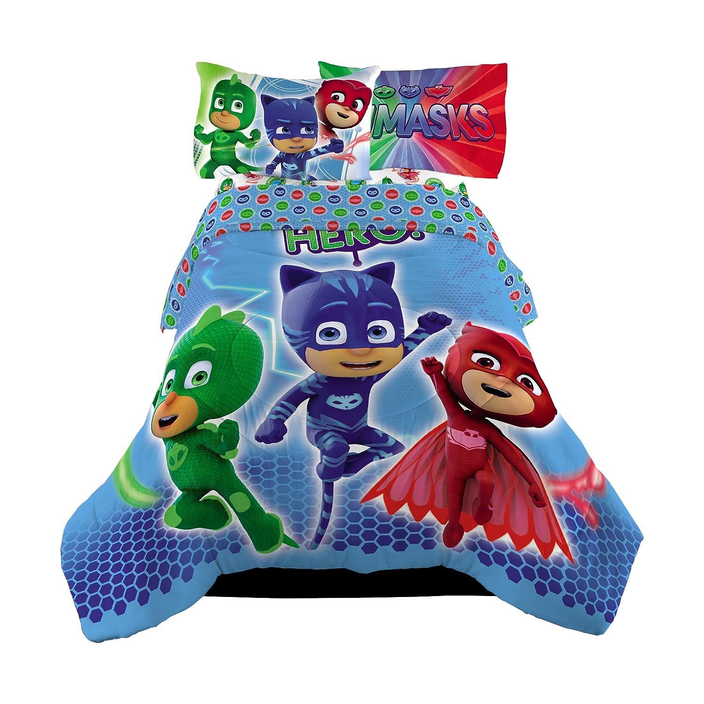 5 Piece Full Size PJ Masks Bedding Set Includes 4pc Full Sheet Set And T/Full Comforter