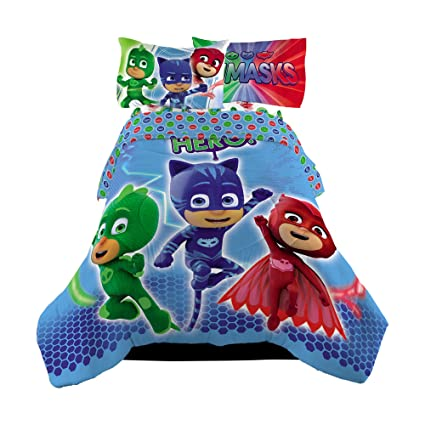 5 Piece Full Size PJ Masks Bedding Set Includes 4pc Full Sheet Set And T/