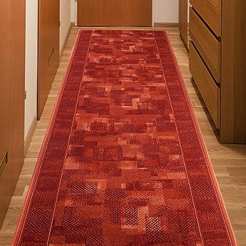 Läufer Teppich Flur Modern Teppichläufer in Rot Küche Wohnzimmer