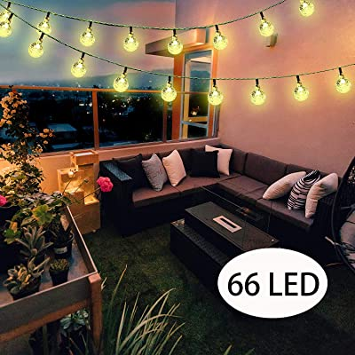 Irecey Solar String Lights Globe 38 Feet 66 Crystal Balls Waterproof LED Fairy Lights 8 Modes Outdoor Starry Lights Solar Powered Lights for Garden Yard Home Party Wedding Decoration (Warm White) : Garden & Outdoor