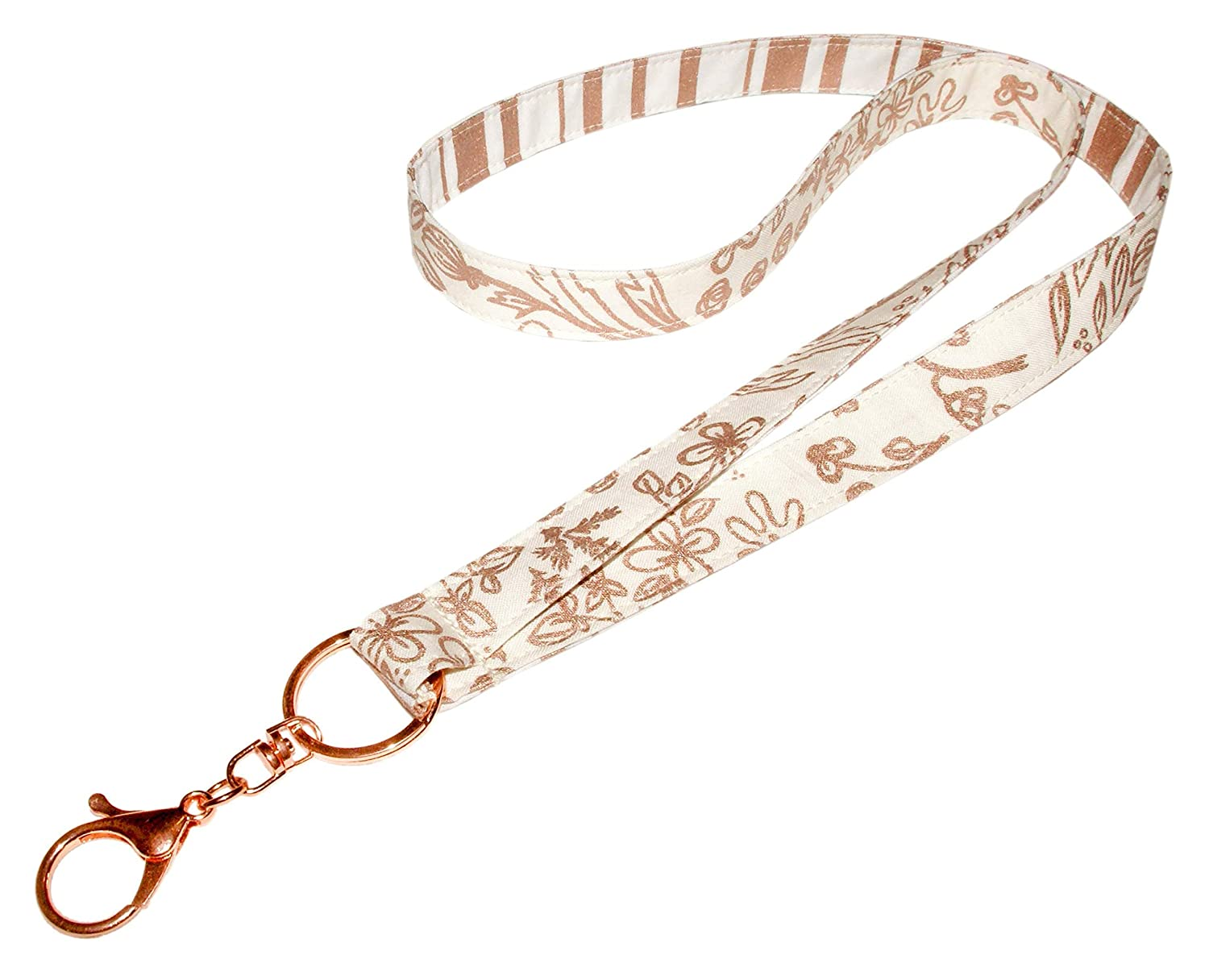 Key Lanyard Neck Strap 3//4 x 36 Inch With Swivel Clip ID Badge Holder Floral Vines and Stripes on Winter White Rose Gold and Metallic Print Reversible Lanyard