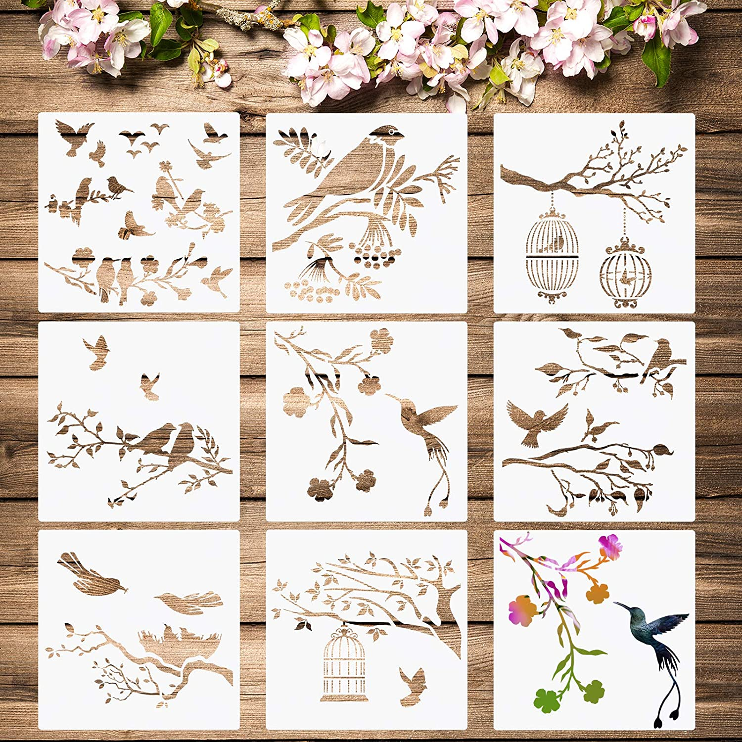 8 Pieces Birds Stencils Birds Tree Branches Stencil Flying Bird Painting Templates Stencils Bird Flower Leaf Drawing Reusable Stencil for Paint Craft Wall DIY Nature Home Decor Wood Signs