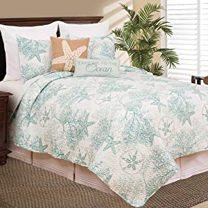 C&F Home Ocean Treasures Blue and White Starfish Sand Dollar and Coral Twin 2 Piece Quilt Set Twin 2 Piece Set Blue
