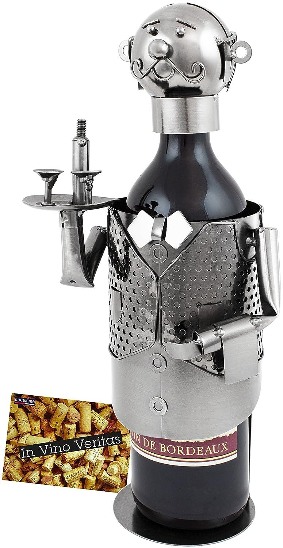 BRUBAKER bottiglia di vino titolare supporto bottiglie vino cameriere Oggetto Decorativo Metallo con biglietto d' auguri per vino regalo